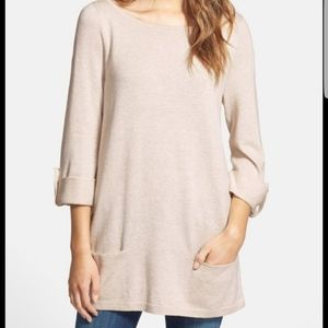 Oatmeal colored tunic knit sweater with 3/4 sleeve